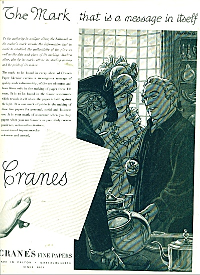 1947 Crane's fine papers AD NAT WHITE ARTWORK (Image1)