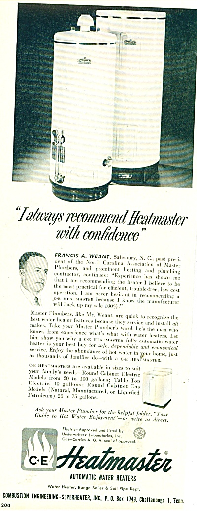 Heatmaster automatic water heaters ad 1950 (Image1)