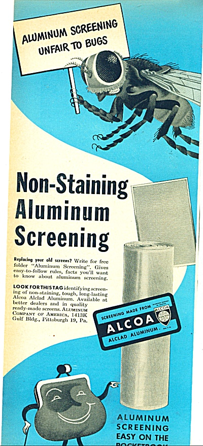 Alcoa non staining aluminum screening ad 1950 (Image1)