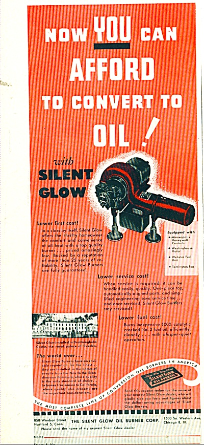 The Silent glow oil burner corp. ad 1950 (Image1)