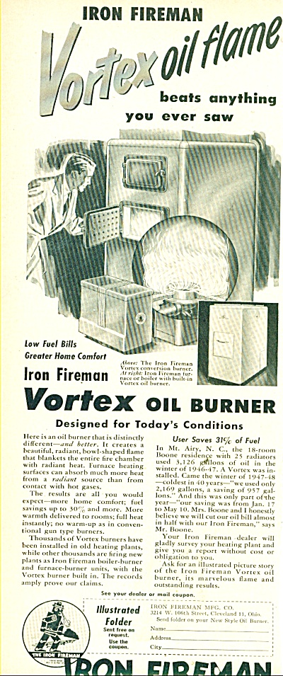 Iron Fireman - Vortex oil burner ad 1950 (Image1)