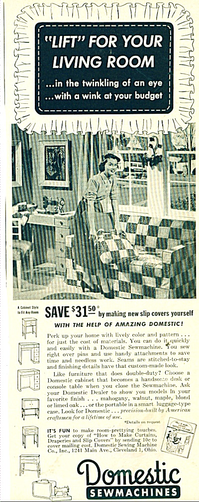 Domestic Sew Machines Ad 1950