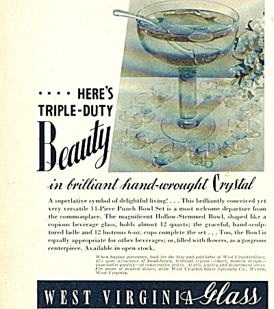West Virginia Glass ad 1950 (Image1)