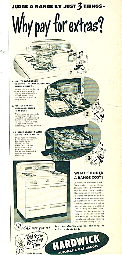 Hardwick automatic gas ranges ad 1950 (Image1)