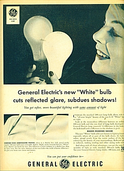 General Electric White bulbs ad 1950 (Image1)