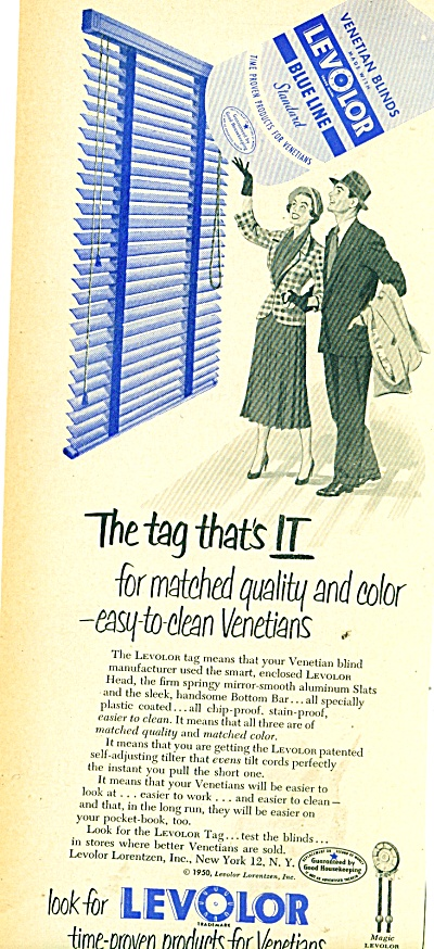 1950 Levolor venetians Blinds ad BLUE LINE (Image1)