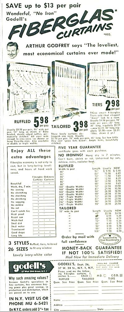 Godell's fiberglas curtains ad 1953 (Image1)