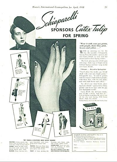 1938 CUTEX Finger Nail Polish AD SCHIAPARELLI (Image1)