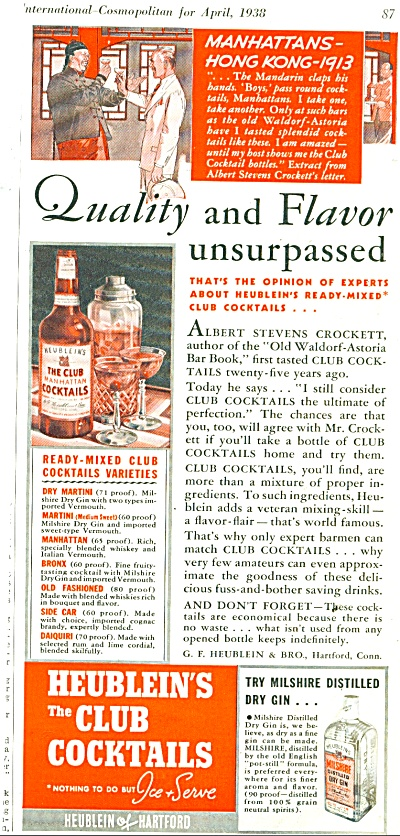 Heublein's The Club Cocktails Ad 1938