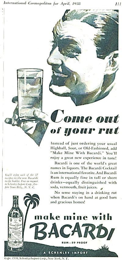 Bacardi Rum - 89 Proof Ad 1938