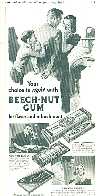 Beech Nut gum  ad 1938 (Image1)