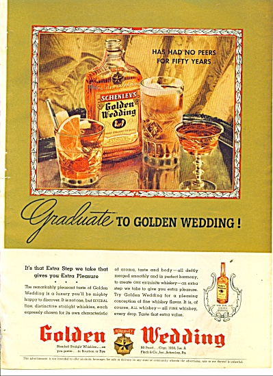 1938 Schenley's Golden Wedding whisky AD (Image1)
