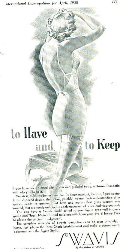 1938 Charis Swavis Foundation Girdle Ad