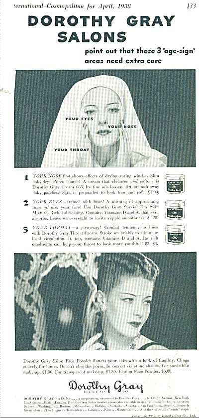 1938 Dorothy Gray Cosmetics SALON Model AD (Image1)