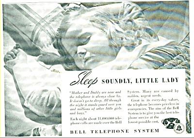 Bell Telephone System Ad 1938 Little Girl And Family
