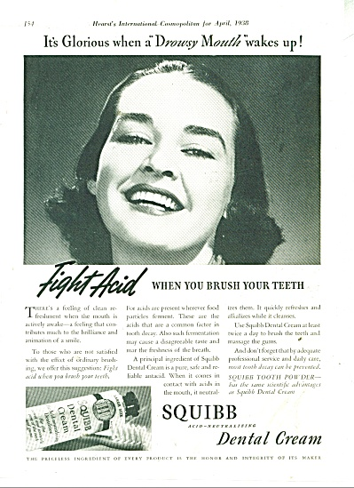 1938 Squibb Dental cream ad SMILING MODEL (Image1)