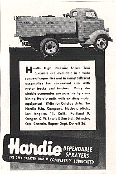 1948 Hardie Shade Tree Sprayer Truck AD (Image1)