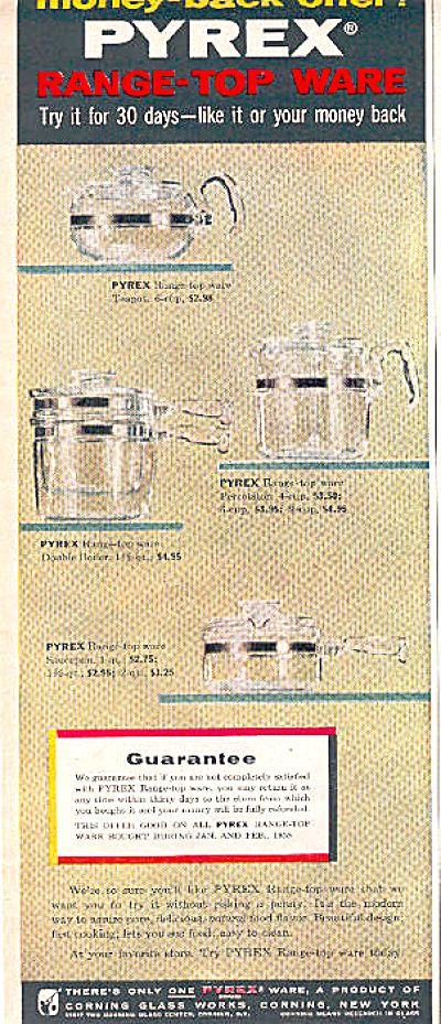 1958 Pyrex Glass Coffee Pot Teapot ++ AD (Image1)