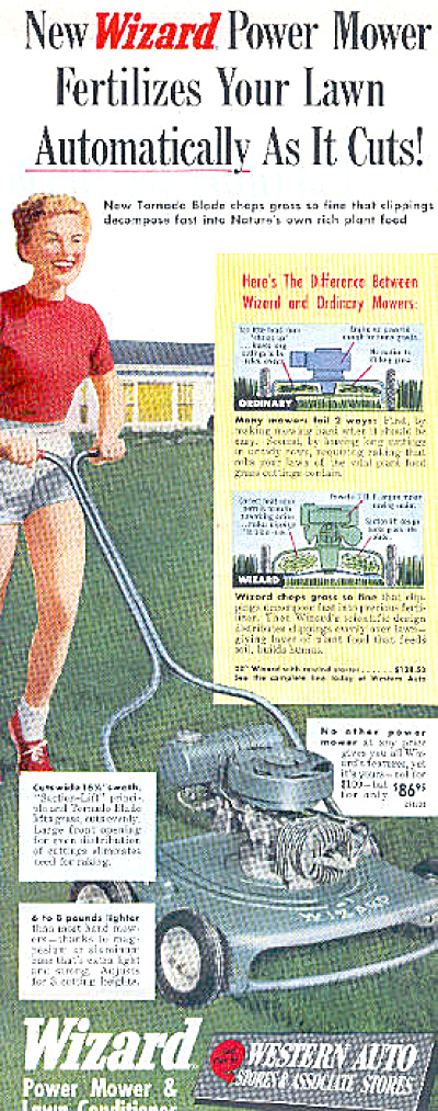 1952 Western Auto Wizard Mower Ad Woman Mowing