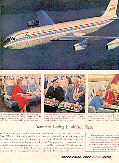 1958 Boeing 707 and 720 airplane Ad (Image1)