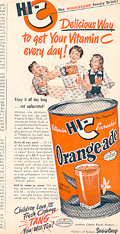 1950 Hi-c Orange-ade Tang Vintage Ad