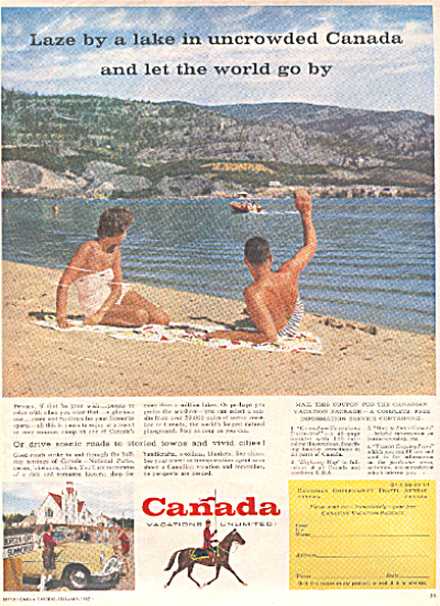 1957 Canadian CANADA TRAVEL Vacation AD (Image1)
