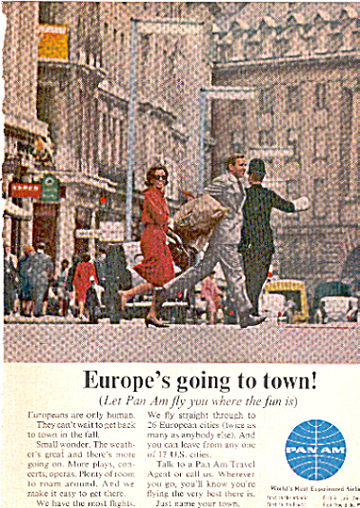 1964  PAN AM AIRLINES EUROPE Travel AD (Image1)