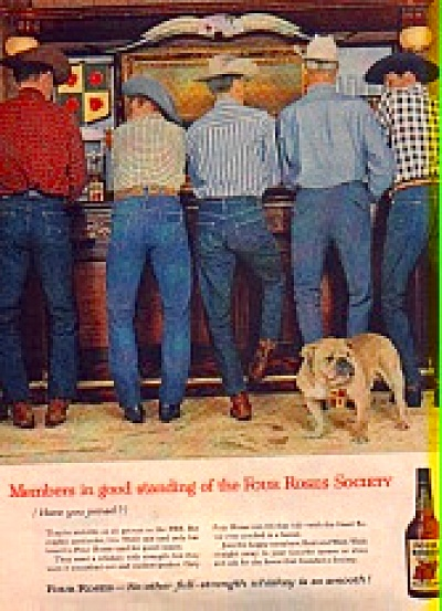 1959 Four Roses Whiskey Men and Bulldog Dog In Bar Ad (Image1)
