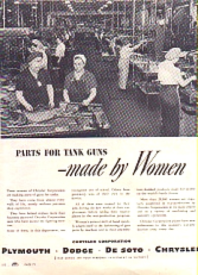 1943 Women Factory Tank Guns Chrysler Ad (Image1)