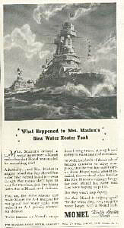 1941 Monel  Battleship Navy AD (Image1)