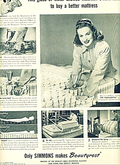 1947 -  Simmons beautyrest - MAUREEN O'HARA (Image1)