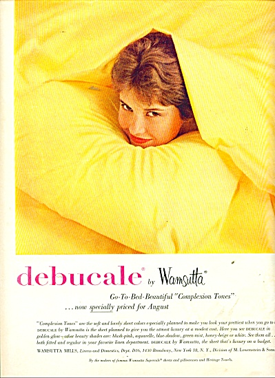 Debucale By Wamsutta Sheets - Ad 1957