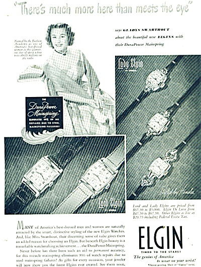 Elgin Watches Ad 1949