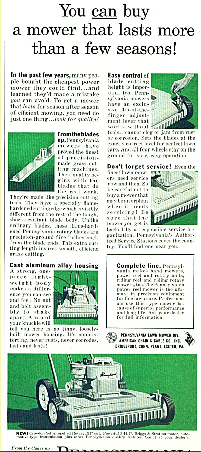 1959 - Pennsylvania Lawn Mowers Ad