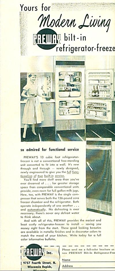 Preway Inc. bilt in refrigerator freezer ad (Image1)