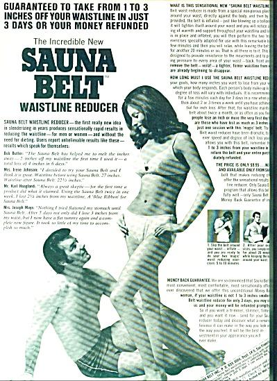 1970 -  Sauna belt  waistline reducer ad (Image1)
