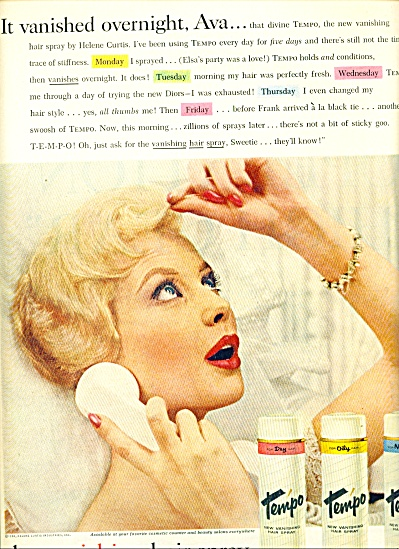 1959 - Tempo hair spray by Helene Curtis ad (Image1)