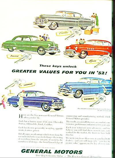 1952- General Motors values for 1952 ad (Image1)