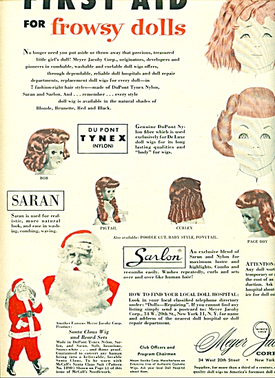1954-55 - Meyer Jacoby Corp. ad FROWSY DOLL WIG Saran (Image1)