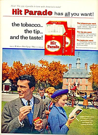 1957 - Hit Parade cigarettes ad WILLIAMSBURG VA (Image1)