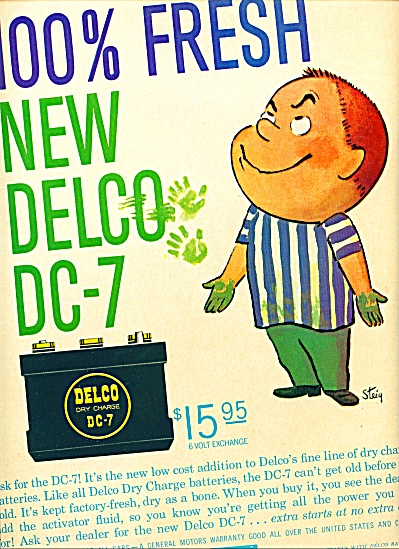 1959 - Delco Dry Charge Dc7 Battery
