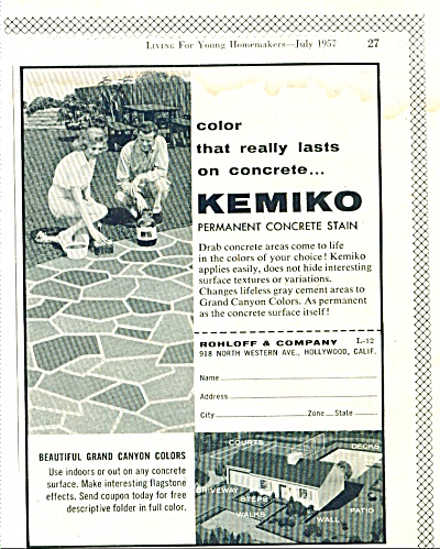 Kemiko permanent concrete stain ad 1957 (Image1)