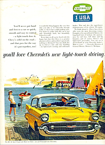 1957 CHEVY Chevrolet CAR AD BEL AIR G.B. ART (Image1)