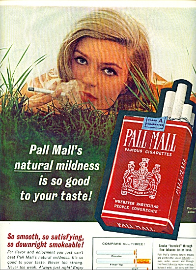1962 - Pall Mall Cigarettes Ad