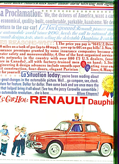 1960 - Renault Dauphine auto ad LE CAR HOT (Image1)