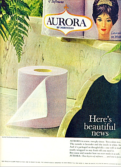 1964  Aurora tissue by Northern ad PURPLE Toilet Paper (Image1)
