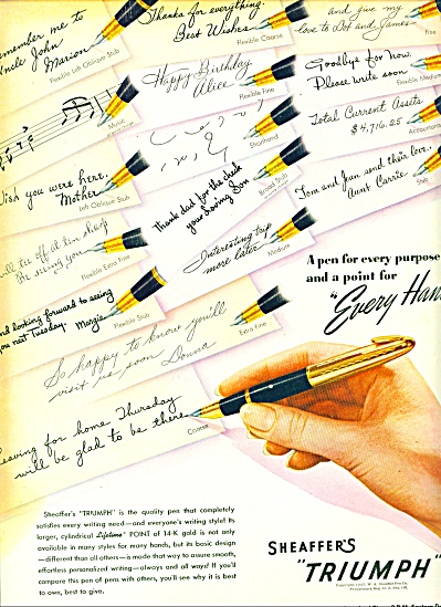1947 - Sheaffer's pen triumph ad (Image1)
