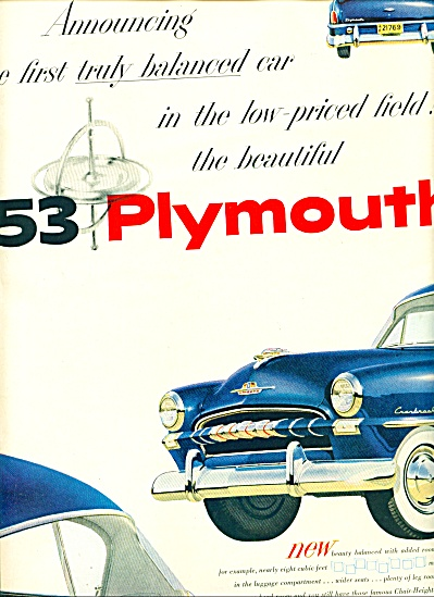 1952 - Plymouth automobile for 53 ad (Image1)