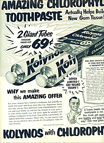 1952 - Kolynos with chlorophyll toothpaste ad (Image1)