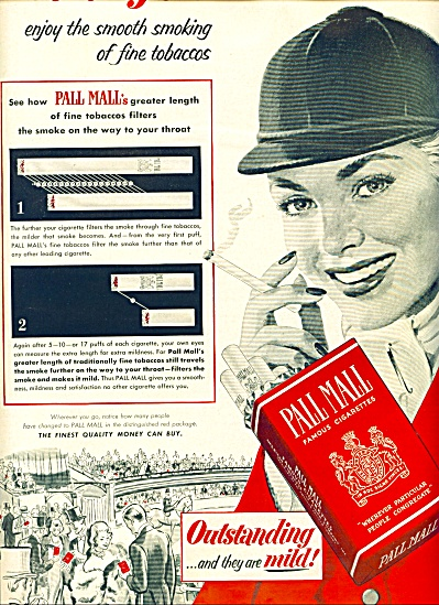 1952 - Pall Mall Cigarettes Ad